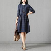 实拍秋装韩版大码女装中长款长袖宽松显瘦连衣裙