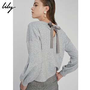 【每满200减100】Lily2018秋新款女装后系带纯色毛衣宽松落肩袖毛衣118110B8773