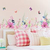 客厅沙发背景墙壁温馨卧室床头房间装饰品墙纸贴画田园花卉墙贴
