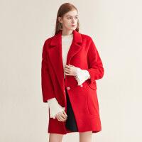 红袖冬季2019新款女装 阿尔巴卡双面呢茧型大衣