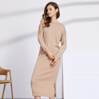 2017秋冬季新款羊绒衫女装圆领修身抽条套裙韩版加厚套头针织衫