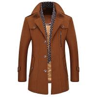 冬季男士商务休闲毛呢大衣外套中长款羊毛呢子风衣爸爸装 驼色 190/100A 3XL