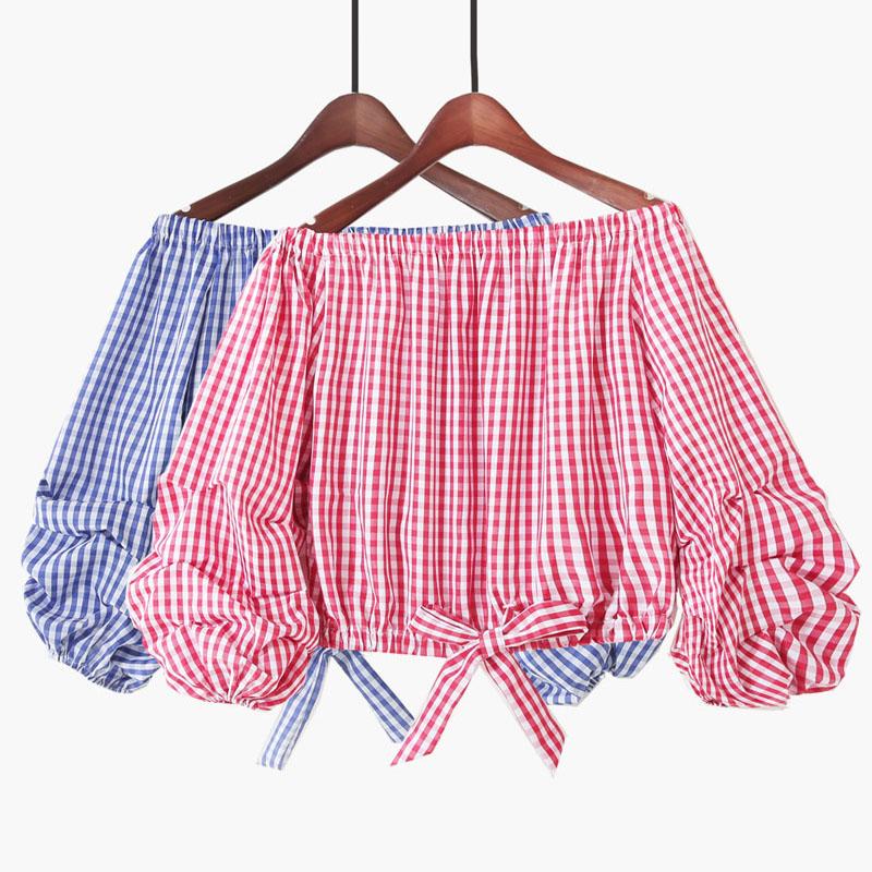 2018夏季新款韩版宽松灯笼袖短款一字领甜美露肩泡泡袖格子衬衫女