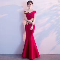 一字肩新娘敬酒服2018新款红色修身鱼尾长款结婚秋冬礼服裙女