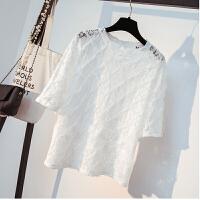 小清新韩版宽松短袖勾花镂空蕾丝打底衫薄上衣小仙女 均码