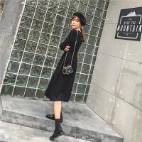 七格格连衣裙2019新款冬季黑色收腰显瘦裙子中长款气质长袖针织裙