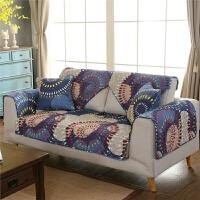 沙发垫全棉布艺坐垫地中海暖色系时尚防滑沙发套四季通用贵妃定做