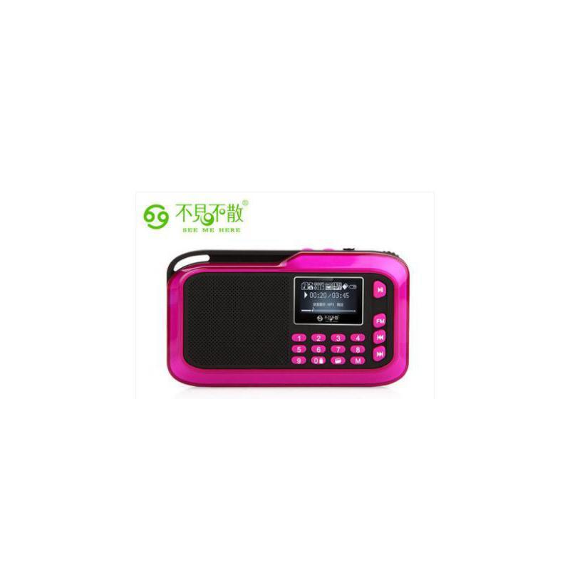 不见不散(See me here) LV390 便携插卡音响 插卡收音机 迷你小音箱 MP3老人播放器 宝马紫 支持歌词歌名显示,为关爱父母而生!