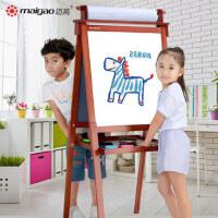 迈高实木儿童画板画架双面小黑板支架式家用宝宝磁性可升降写字板