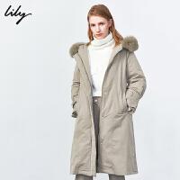 【不打烊价:1314元】 Lily2019冬新款女装派克风衣感可拆卸狐狸毛领长款收腰羽绒服1965
