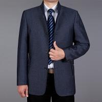 2017春秋新款中老年扣子夹克外套男装中年爸爸装休闲翻领薄茄克衫 蓝灰色 1626立领款