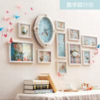 欧式装饰画客厅餐厅创意照片挂画带时钟沙发背景墙画现代简约壁画