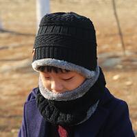 冬季保暖儿童帽子围巾男女童宝宝护耳帽毛线帽围脖两件套子款 均码 儿童款3-10岁有弹力