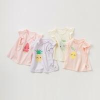 戴维贝拉夏季新款女童卡通短袖宝宝套头T恤DBZ10526