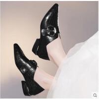 古奇天伦新款韩版百搭春季平底鞋尖头单鞋英伦风女鞋子中跟粗跟小皮鞋CDE8829