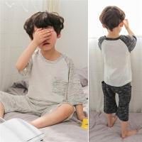 儿童夏天空调睡衣纯棉薄男童家居服套装夏装中大童短袖男孩两件套