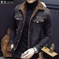 秋冬季牛仔外套男加绒加厚羊羔毛夹克帅气修身韩版冬天牛仔衣 黑色 M