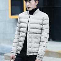 冬装男外套青年潮流韩版修身帅气秋冬季男士棉衣加厚保暖休闲 浅灰 M