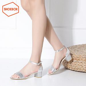 达芙妮旗下shoebox鞋柜新款夏季时尚韩版凉鞋休闲粗跟方跟一字扣带女鞋