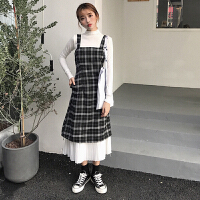 秋季新款女�b�色高�I�L袖上衣格子下�[百褶荷�~��B衣裙�W生套�b
