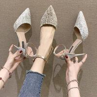 户外鞋子女韩版时尚百搭单鞋尖头细跟法式性感高跟鞋
