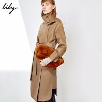 Lily2019冬新款女装洋气驼色宽松落肩羊绒双面呢大衣毛呢外套1986