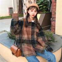 秋冬女装新款韩版学院风宽松翻领加厚毛呢大衣格子衬衫外套学生潮