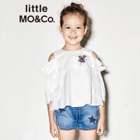 littlemoco夏季新品女童短袖上衣绣花图案荷叶边露肩休闲上衣
