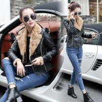 新款秋冬加绒皮衣短款加厚韩版修身百搭夹克外套时尚潮流女装