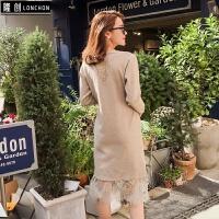 秋冬装蕾丝拼接长袖高腰显瘦打底针织连衣裙女中长款气质毛衣裙子 均码