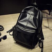 男包韩版潮书包中学生女PU皮男士双肩包 男背包休闲旅行包gfd 黑色送钱包