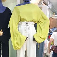 现货ulzzang春秋装新款sister宽松纯色长袖衬衫休闲女学生上衣