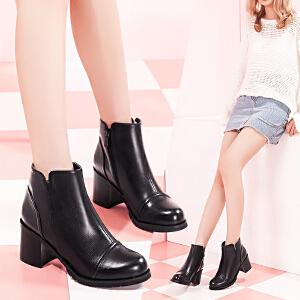 毅雅女靴欧美英伦风粗跟及踝靴女高跟侧拉链切尔西靴圆头厚底女靴