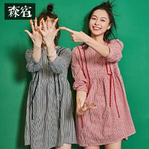 【低至1折起】森宿P小文案累了秋装新款文艺丝绒飘带格子连衣裙女短裙子