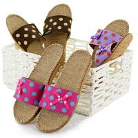 家居亚麻拖鞋夏季男女室内防滑情侣春秋居家用四季卧室地板凉拖鞋