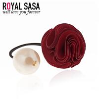 皇家莎莎Royalsasa韩国新款饰品发饰头饰玫瑰花朵发圈珍珠皮筋发绳06SP016