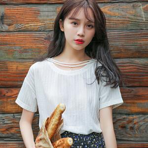 夏装新品韩版宽松百搭圆领棉猫咪绣花短袖T恤女装半袖上衣