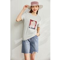 【到手价:63元】Amii极简个性印花纯棉T恤2020春新款修身短袖40支莱卡棉女上衣