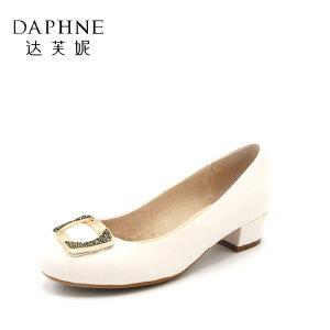 Daphne/达芙妮单鞋子浅口圆头粗中跟职业休闲潮