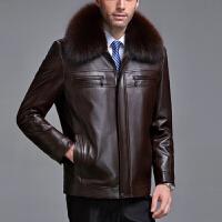 中老年男装冬装真皮皮衣男士绵羊皮夹克加厚貂内胆毛领外套爸爸装