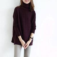 2017秋冬新款羊绒衫女高领中长款纯色套头针织打底衫加厚宽松毛衣