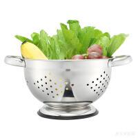 304不锈钢洗菜篮子沥水篮网篮洗菜盆厨房加厚漏盆圆形水果篮果盆 不锈钢本色