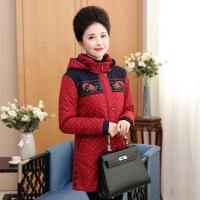 中老年女装冬装中长款棉衣外套中年妈妈40-50岁大码加厚锈花棉袄