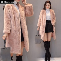 水貂绒外套女中长款新款潮冬季女款整貂毛毛绒仿貂皮大衣显瘦