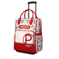 女士高尔夫球包 衣物包 旅行包时尚印花拉杆滑轮多用途衣服包 红色