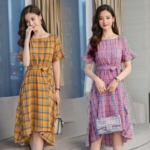 2018夏季新款韩版气质中长款格子紫色温柔连衣裙雪纺显瘦喇叭中长裙