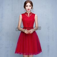 新娘敬酒服短款2016新款夏季红色结婚订婚晚礼服韩版连衣裙晚装显瘦女