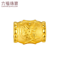 六福珠宝铜钱鲤鱼黄金转运珠路路通DIY串珠手绳GDGTBP0010