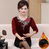 中年妈妈装秋冬加绒加厚衣40-50岁中老年女装打底衫保暖针织衫