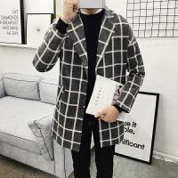 冬季潮流中长款风衣男英伦厚毛呢格子大衣加大码时尚韩版男装外套